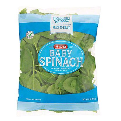 H-E-B Baby Spinach, 6 oz