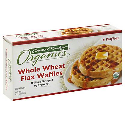 Central Market Organics Whole Wheat Flax Waffles, 6 ct