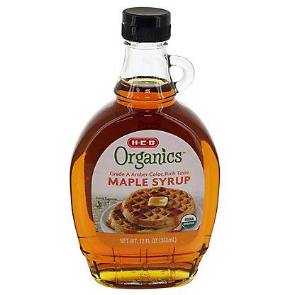 H-E-B Organics Grade A Medium Amber Maple Syrup, 12 oz