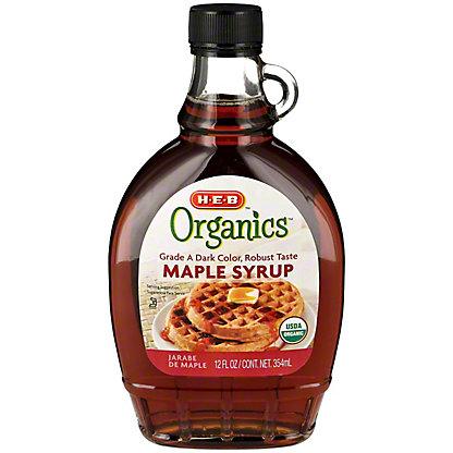 H-E-B Organics Dark Amber Maple Syrup, 12 oz