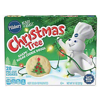 Pillsbury Ready To Bake! Christmas Tree Shape Sugar Cookie, 24 CT