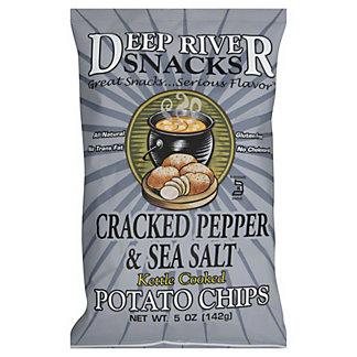 Deep River Snacks Kettle Cooked Sea Salt & Cracked Pepper Potato Chips,5 oz