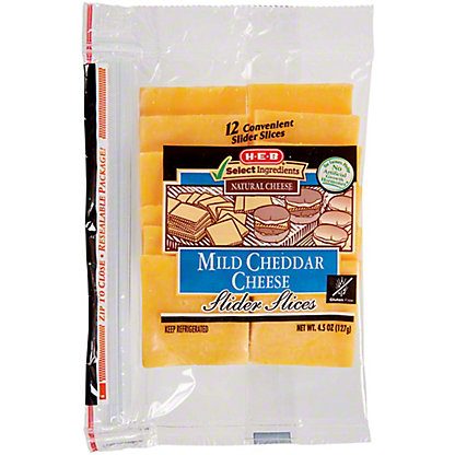 H-E-B Mild Cheddar Slider Slices, 12 ct