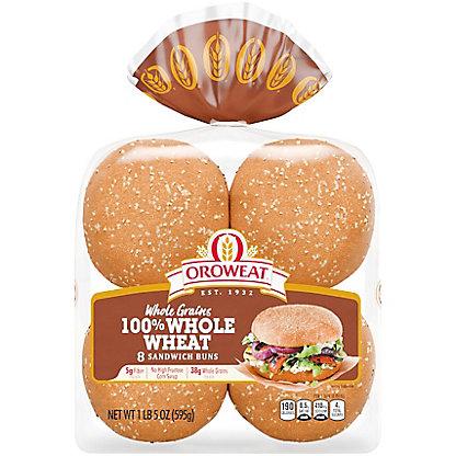 Oroweat Whole Grain 100% Whole Wheat Hamburger Buns,8 CT