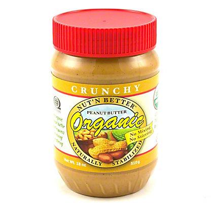 Nut' N Better No-Stir Organic Crunchy Peanut Butter,18 OZ