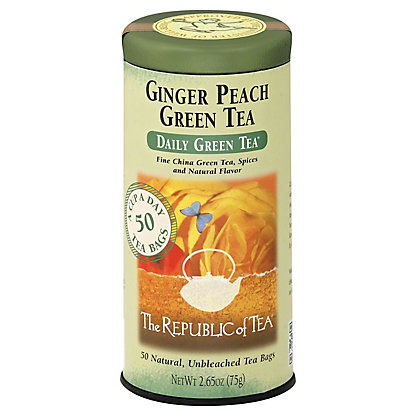 The Republic of Tea Ginger Peach Green Tea Bags,50 CT