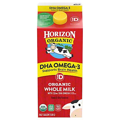 Horizon Organic DHA Omega-3 Vitamin D Milk, 1/2 gal