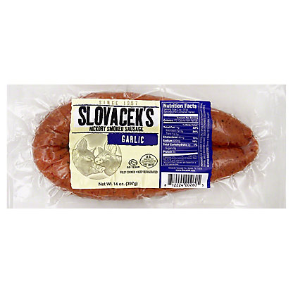 Slovacek's Hickory Smoked Sausage Garlic,14 OZ