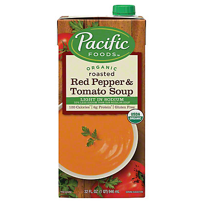 Pacific Foods Organic Light Sodium Roasted Red Pepper and Tomato Soup, 32 oz