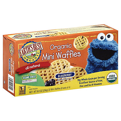 Earth's Best Organic Sesame Street Blueberry Mini Waffles, 32 ct