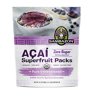Sambazon Unsweetened Pure Acai Berry Smoothie Packs,4 ea