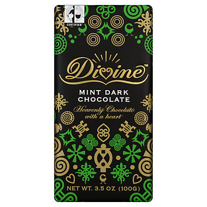 Divine Divine Dark Chocolate Bar with Mint,3.5 oz