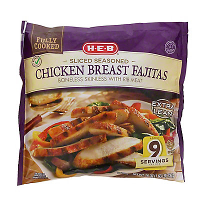 H-E-B Fully Cooked Sliced Seasoned Texas Size Chicken Breast Fajitas,26 OZ