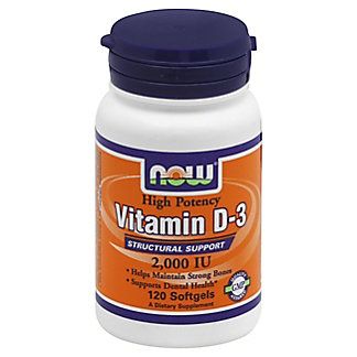 NOW Vitamin D-3 2000 IU Softgels,180 CT