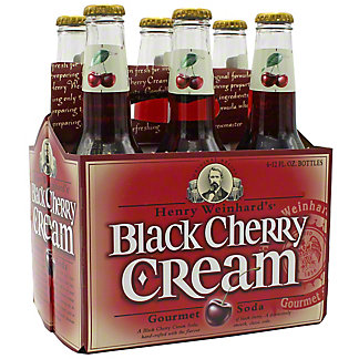 Henry's Black Cherry Cream Gourmet Soda 12 oz Bottles, 6 pk
