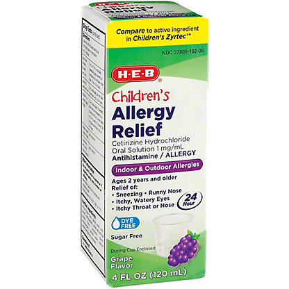 H-E-B Children's Allergy Relief 24 Hour Cetirizine 1 mg For Ages 2 & Over  Sugar Free Grape Syrup, 4 oz