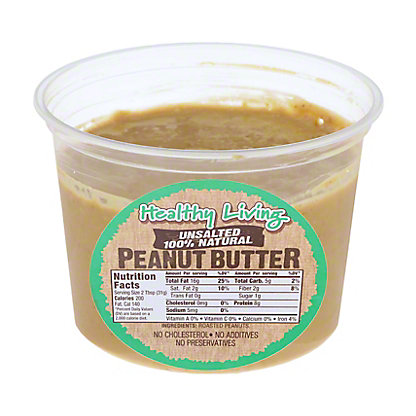 Hampton Farms Healthy Living Unsalted Natural Peanut Butter,16 OZ