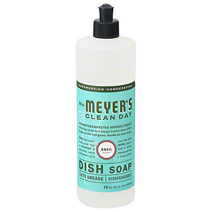 Mrs. Meyer's Clean Day Liquid Dish Soap, Basil,16 OZ
