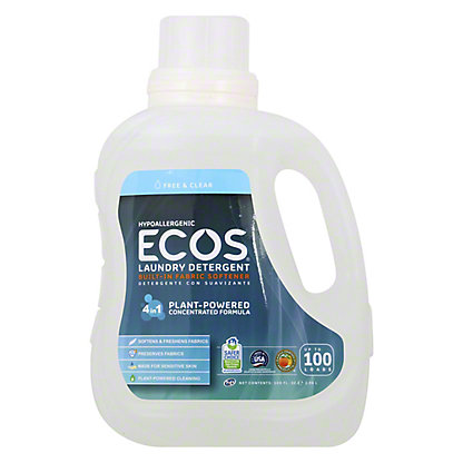 Earth Friendly Ecos 2X Ultra Free and Clear HE Liquid Laundry Detergent, 100 OZ