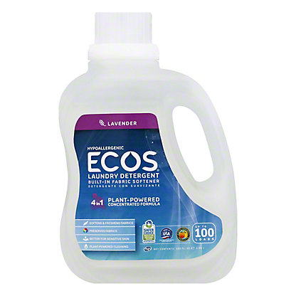 Earth Friendly ECOS 2X Ultra HE Laundry Detergent with Fabric Softener Lavender,100 OZ