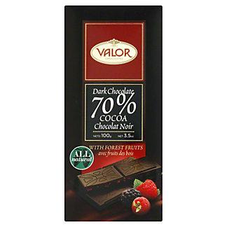 Valor Chocolates Dark 70% with Forest Fruit, 3.5 oz