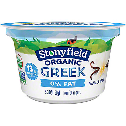 Stonyfield Organic Greek Yogurt, Vanilla,5.3 oz