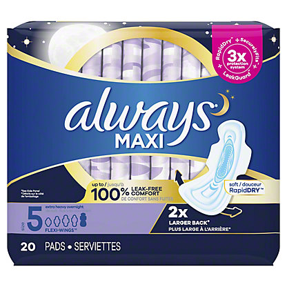 Always Maxi Size 5 Extra Heavy Overnight Pads with Wings Unscented, 20 ct
