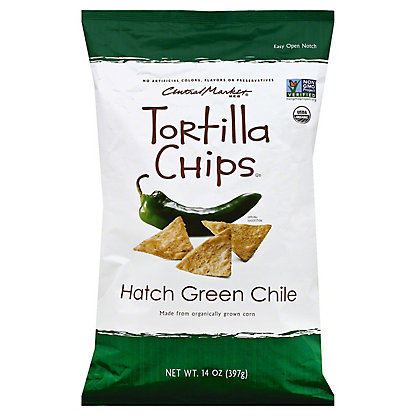 Central Market Hatch Green Chile Tortilla Chips, 14 oz