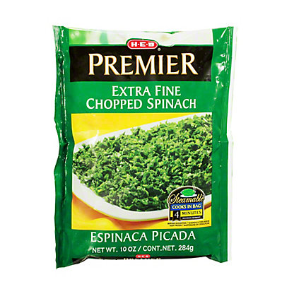 H-E-B Premier Steamable Extra Fine Chopped Spinach,10 oz