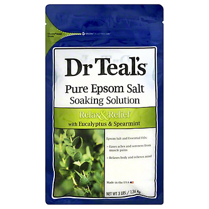 Dr Teal's Epsom Salt Soaking Solution Relax & Relief with Eucalyptus & Spearmint,3 LBS