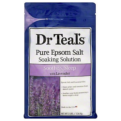 Dr Teal's Epsom Salt Soaking Solution Soothe & Sleep with Lavender,3 LBS