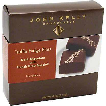 JOHN KELLY CHOCOLATES John Kelly Fudge Truffle Bites Dark Chocolate w/ Grey Salt,4 OZ