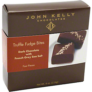 John Kelly Chocolates Fudge Truffle Bites, Dark Chocolate w/French Grey Sea Salt, 4 CT, 4 OZ