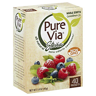 Pure Via Stevia Natural Zero Calorie Sweetener Packets,40 CT