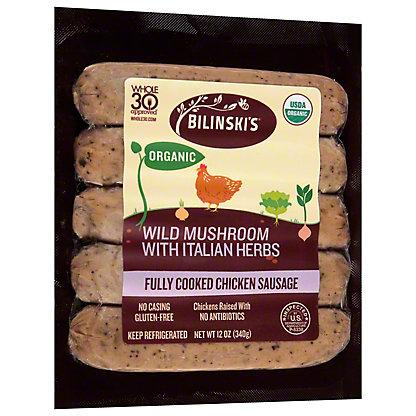 Bilinski's Organic Italian Herb Chicken Sausage with Porcini Mushrooms,12 OZ