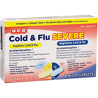 H-E-B Cold Multi-symptom Daytime/Non-Drowsy And Nighttime Cool Taste Caplets, 24 ct