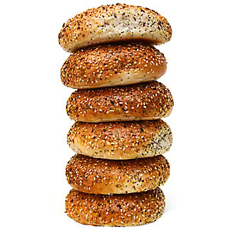 Central Market Boiled Bagels Everything 6 Pack, 24 oz