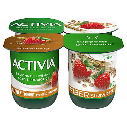 Dannon Activia Low Fat Strawberry and Cereal Yogurt with Fiber,4 ct