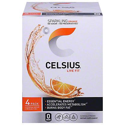 Celsius Sparkling Orange, 4 pk, 12 oz