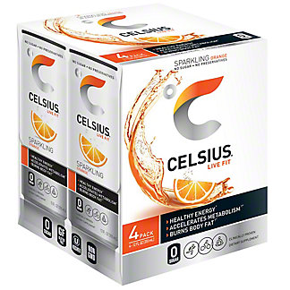 Celsius Sparkling Orange, 4 pk, 12 oz