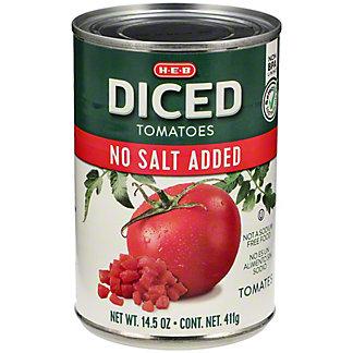 H-E-B No Salt Added Diced Tomatoes, 14.5 oz