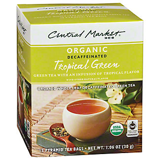Central Market Organics Decaffeinated Tropical Green Pyramid Tea Bags,15 CT