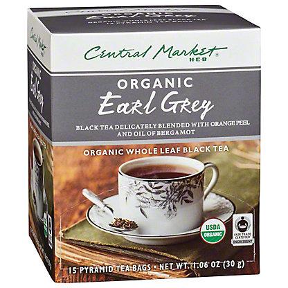 Central Market Organics Whole Leaf Earl Grey Black Pyramid Tea Bags,15 CT