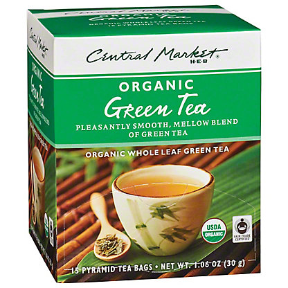 Central Market Organics Whole Leaf Green Pyramid Tea Bags,15 CT