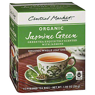 Central Market Organics Whole Leaf Jasmine Green Pyramid Tea Bags,15 CT