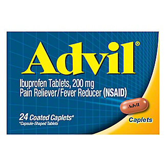 Advil Pain Reliever/Fever Reducer Ibuprofen 200 mg Coated Caplets,24 CT