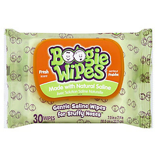 Boogie Wipes Gentle Saline Wipes or Stuffy Noses - Fresh Scent,30 CT