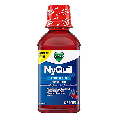 Vicks NyQuil Cold & Flu Nighttime Relief Cherry Liquid, 12 oz