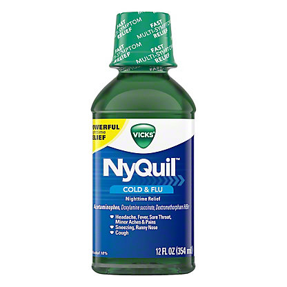 Vicks NyQuil Cold & Flu Nighttime Relief Original Liquid, 12 oz