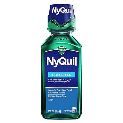 Vicks NyQuil Cold & Flu Nighttime Relief Original Liquid, 12 oz